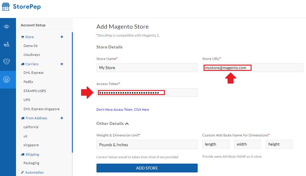 add magento store details