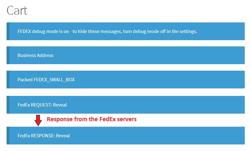 response from FedEx servers