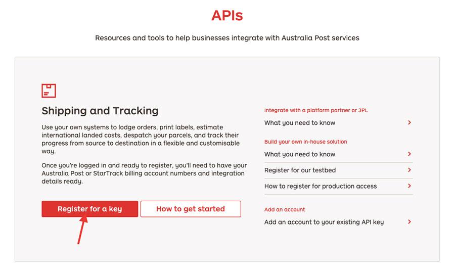 Australia post API keys