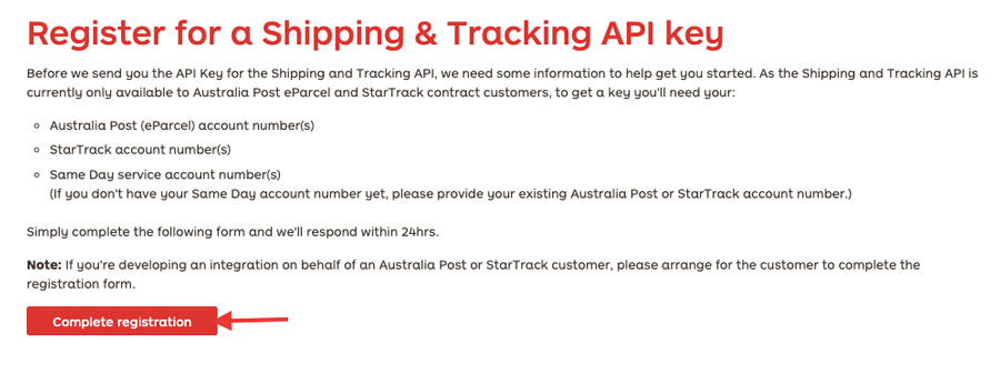 register for a shipping and tracking api key