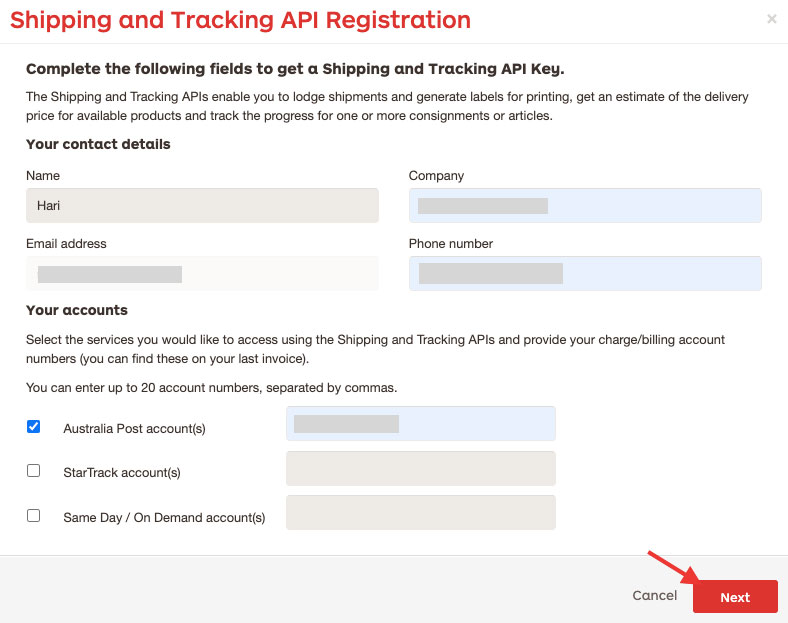 shipping and tracking api registration