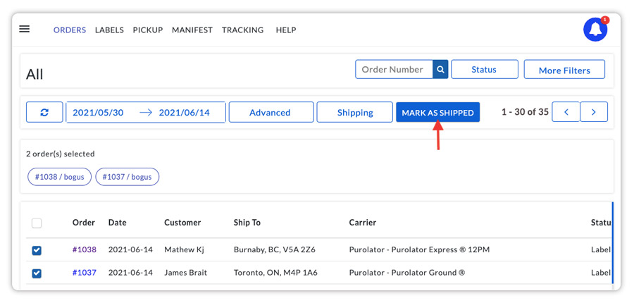 Mark-the-Purolator-order-shipped