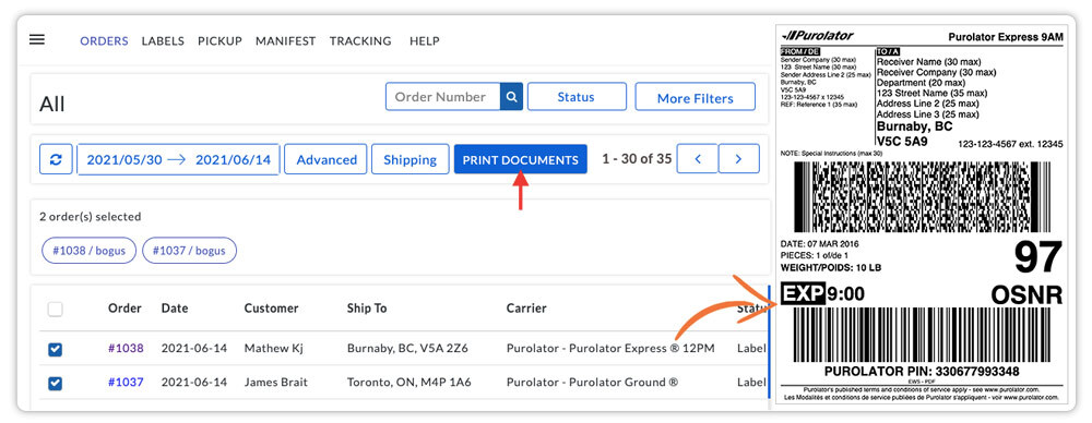 Print-Purolator-shipping-label