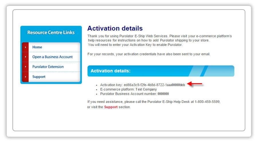 Purolator-activation key