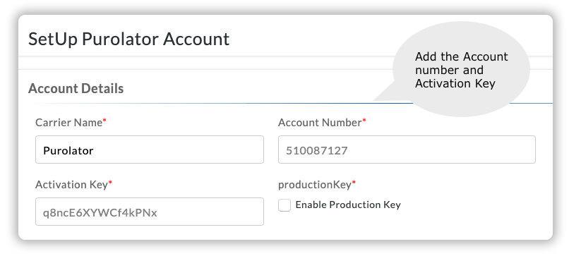add purolator account