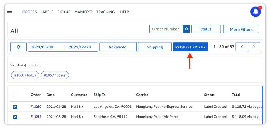 Hongkong post request pickup