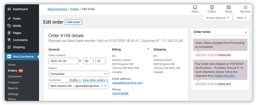 purolator-tracking-details-in-woocommerce-orders