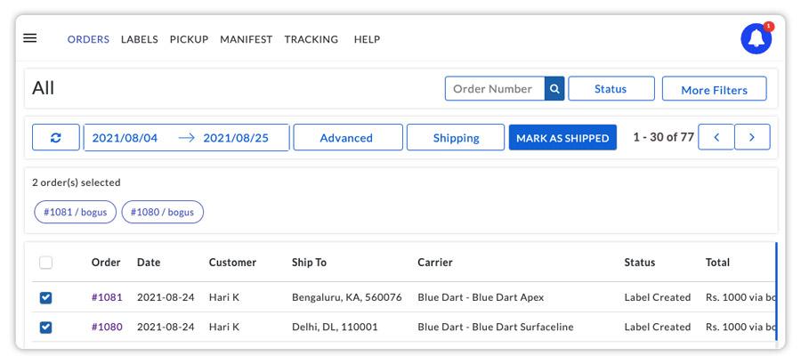 Mark-the-Bluedart-orders-as-shipped